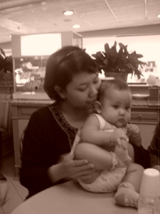 Kakak (5 months) with Aunty