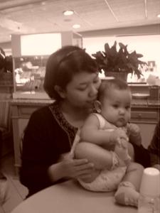 Kakak (5 months) with Aunty
